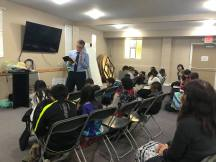Speaking to the 4-12 year old Sunday school class.